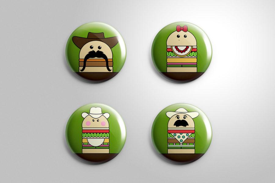 Badge reklamowy marki Los Hamburgeros