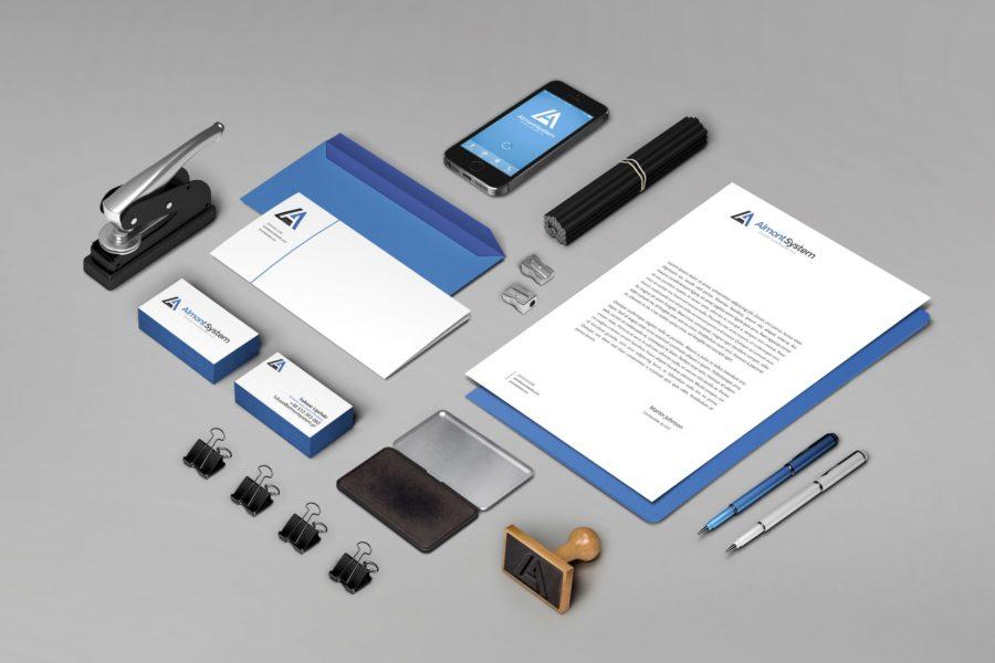 Koncepcja papeterii firmowej dla marki Almont System