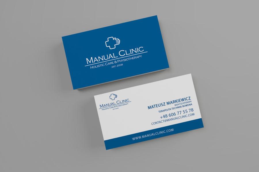 Wizytówka kliniki fizjoterapii Manual Clinic
