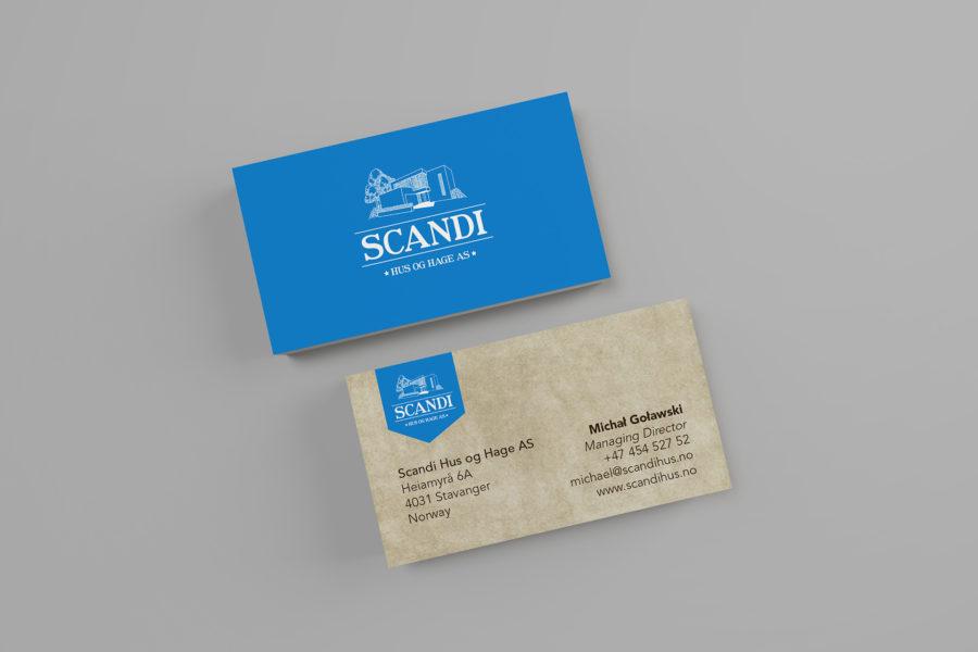 Wizytówka firmy Scandi Hus og Hage